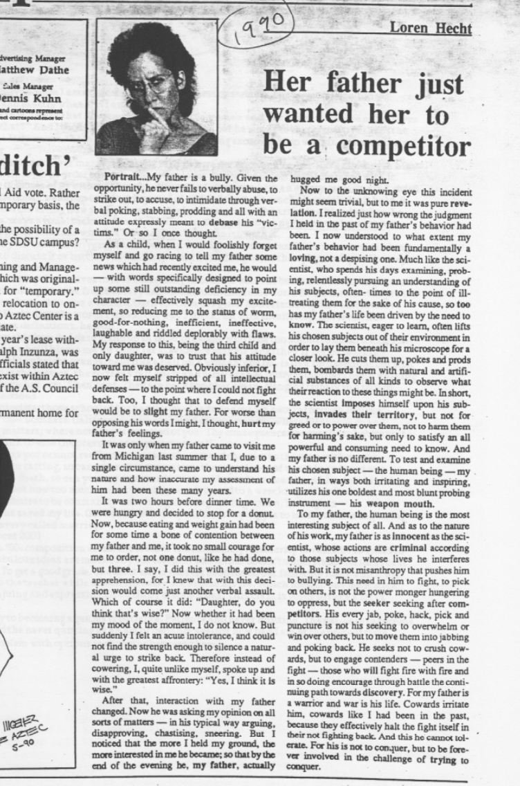 father piece on sdsu newspaper 1990